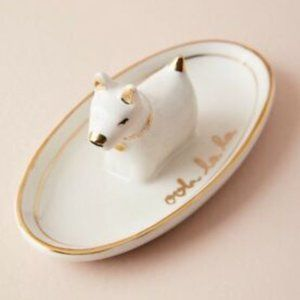 Anthropologie White Gold Dog Trinket Jewelry Dish